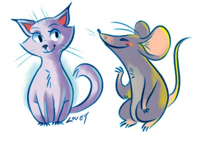 картинки как рисовать кошки мышки