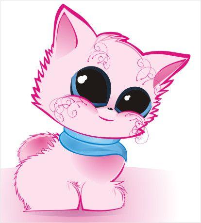 Розовый котенок рисунок